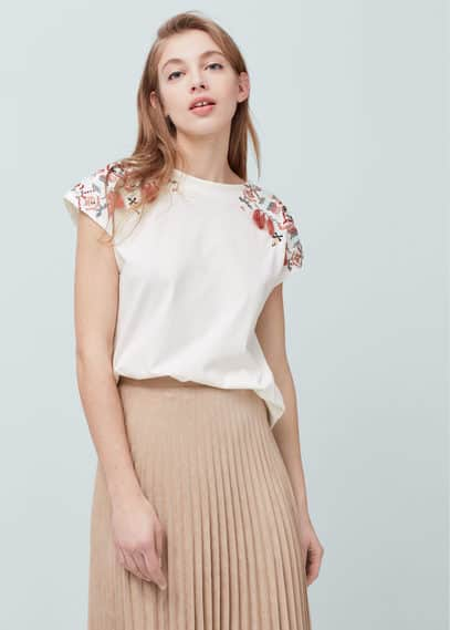 Mango Embroidered cotton t-shirt