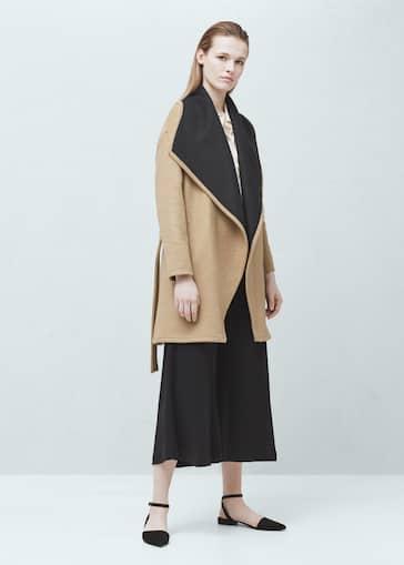210f858e15ef1 Abrigo lana maxi solapas - Mujer