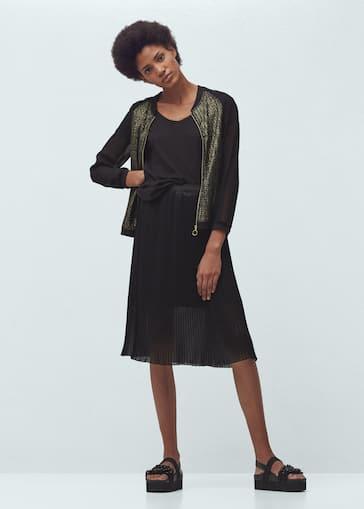 a797a24d1d Contrast sleeve bomber jacket - Woman
