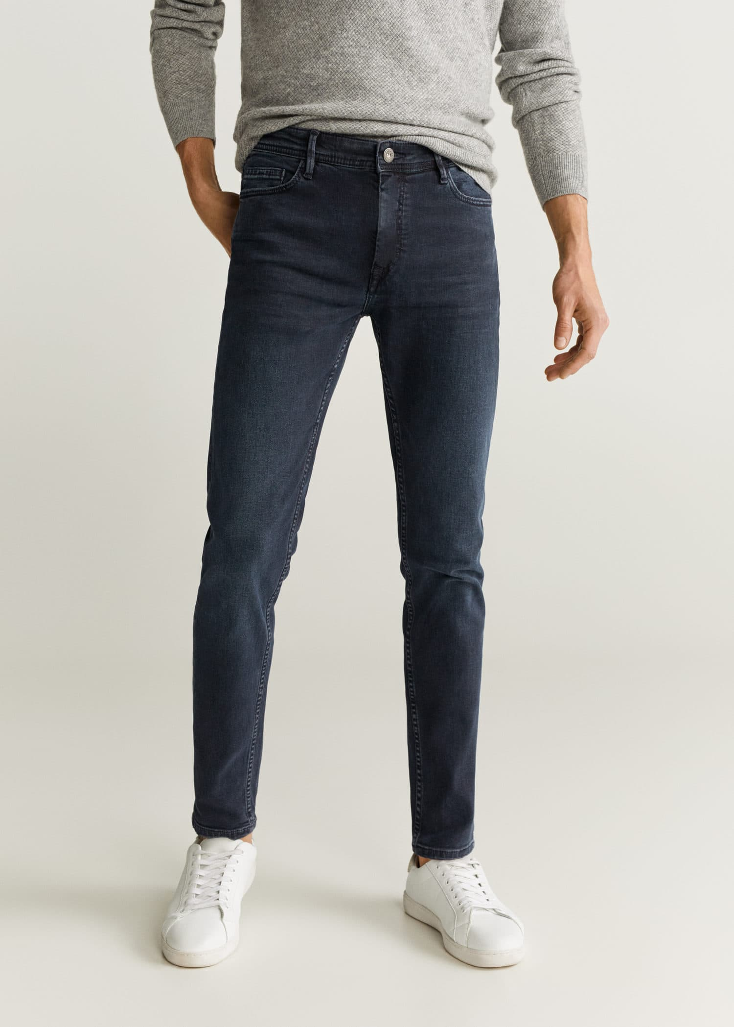 Jeans tim slim fit com lavagem escura gasta Homem   Mango