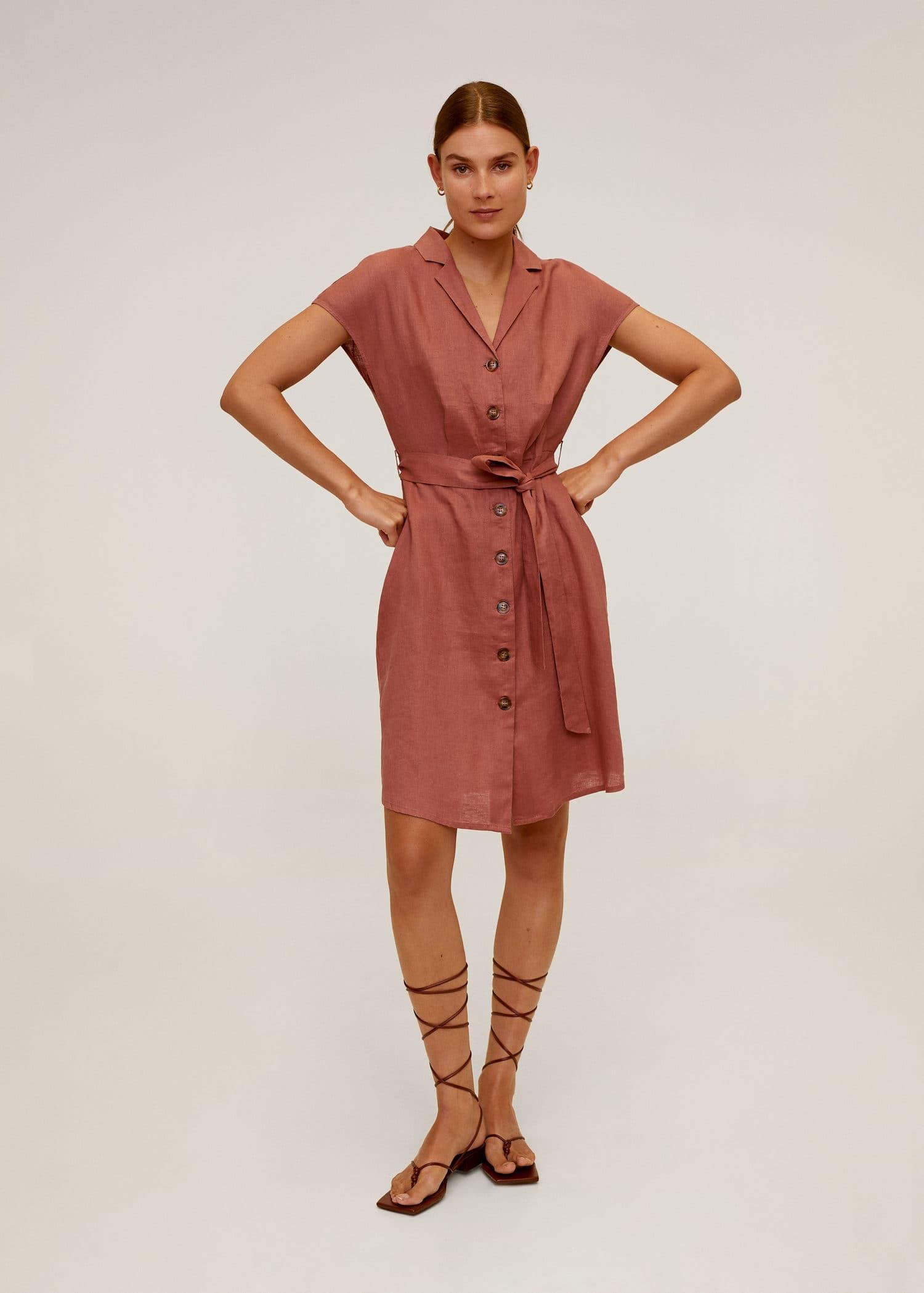 Vestido lino cinturón Mujer | Mango España
