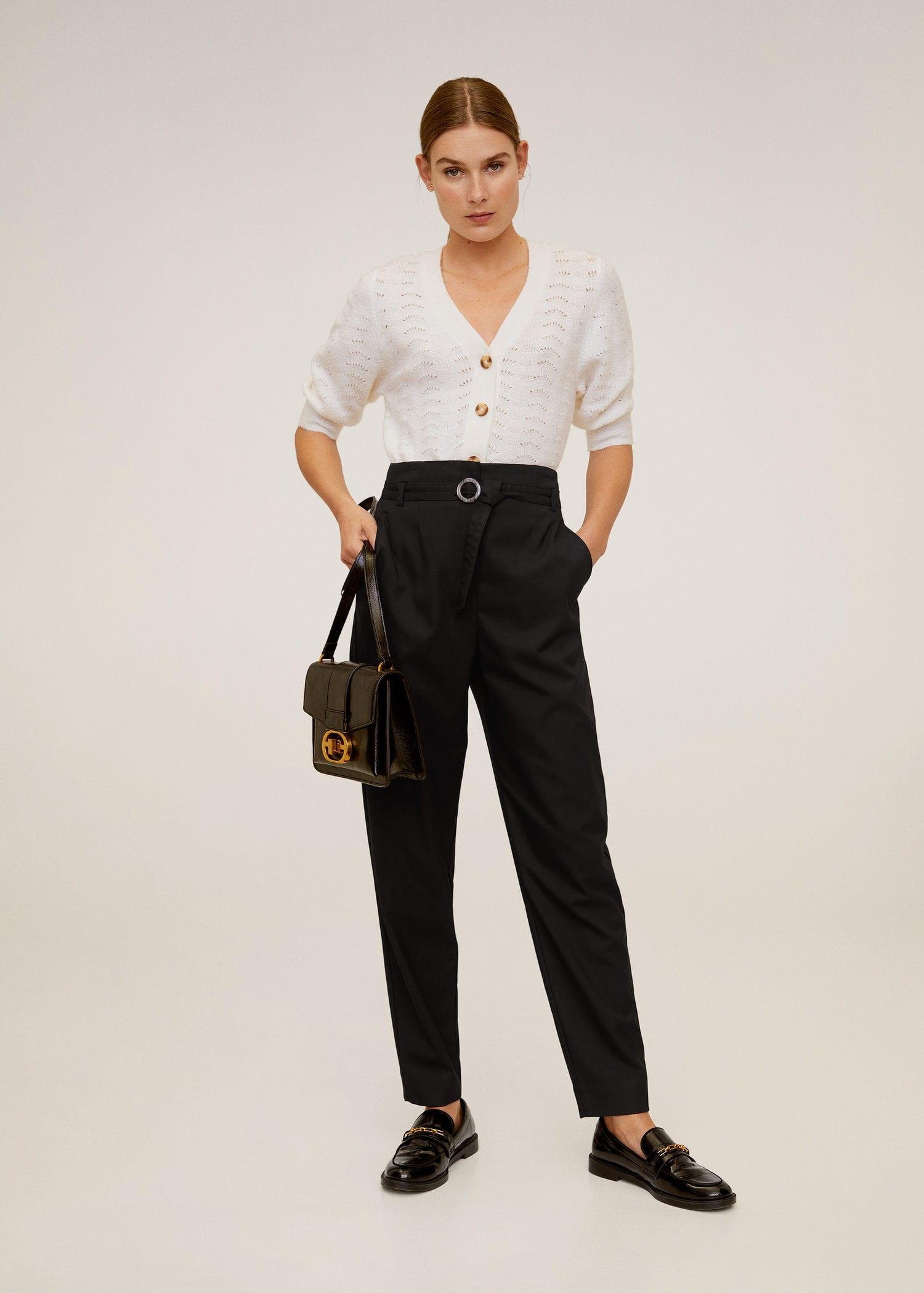 conjunto blazer e calça preto mango