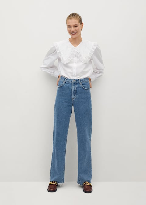 Wide leg high waist jeans - General plane