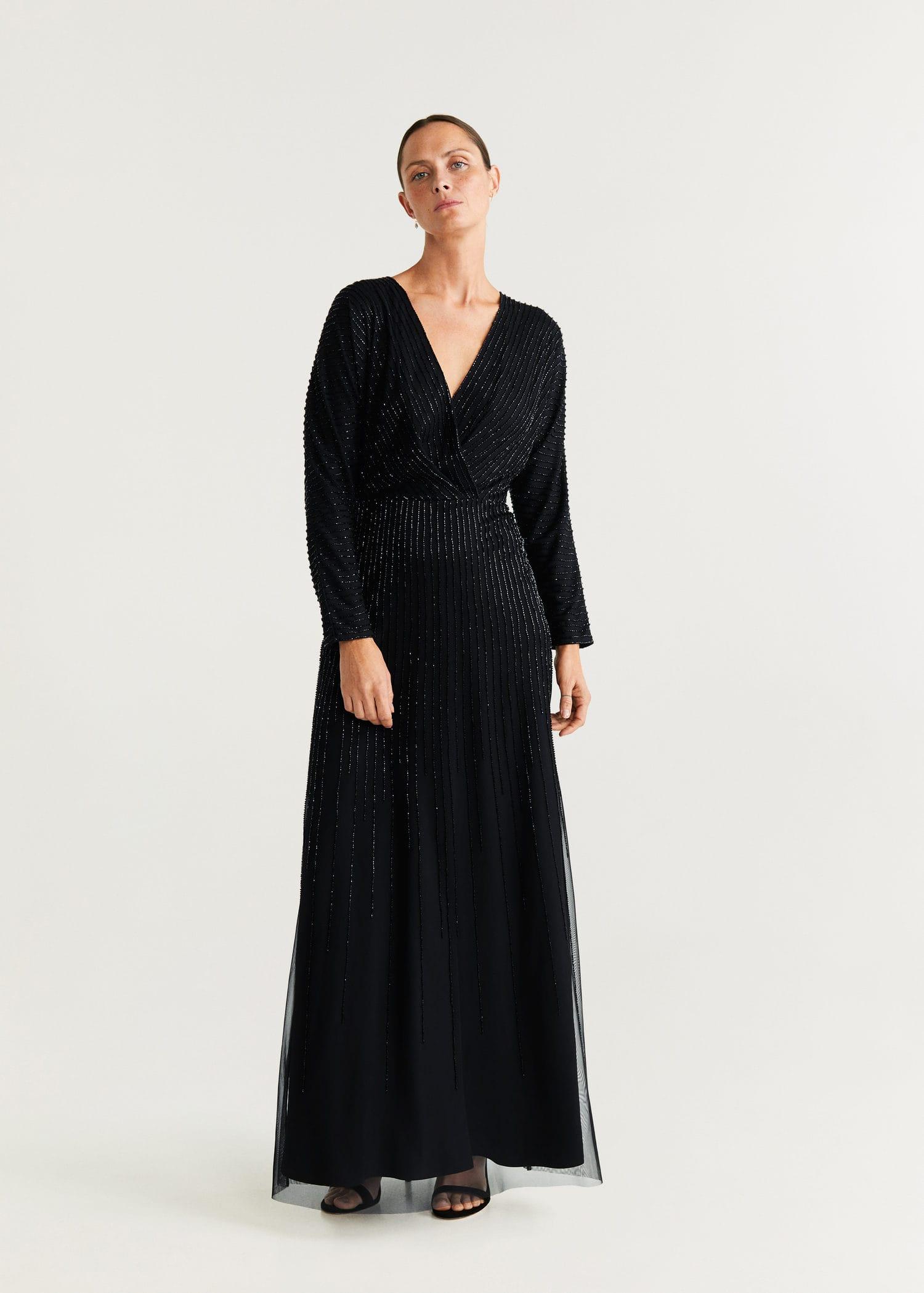 Robe longue perles Femme   Mango France