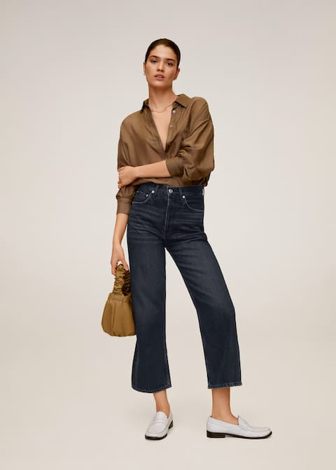 Straight high waist jeans - General plane