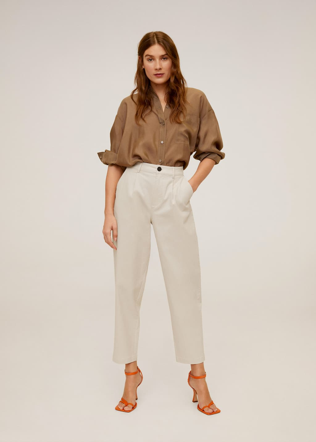 Relaxed Fit Cropped Trousers Woman Mango Finland