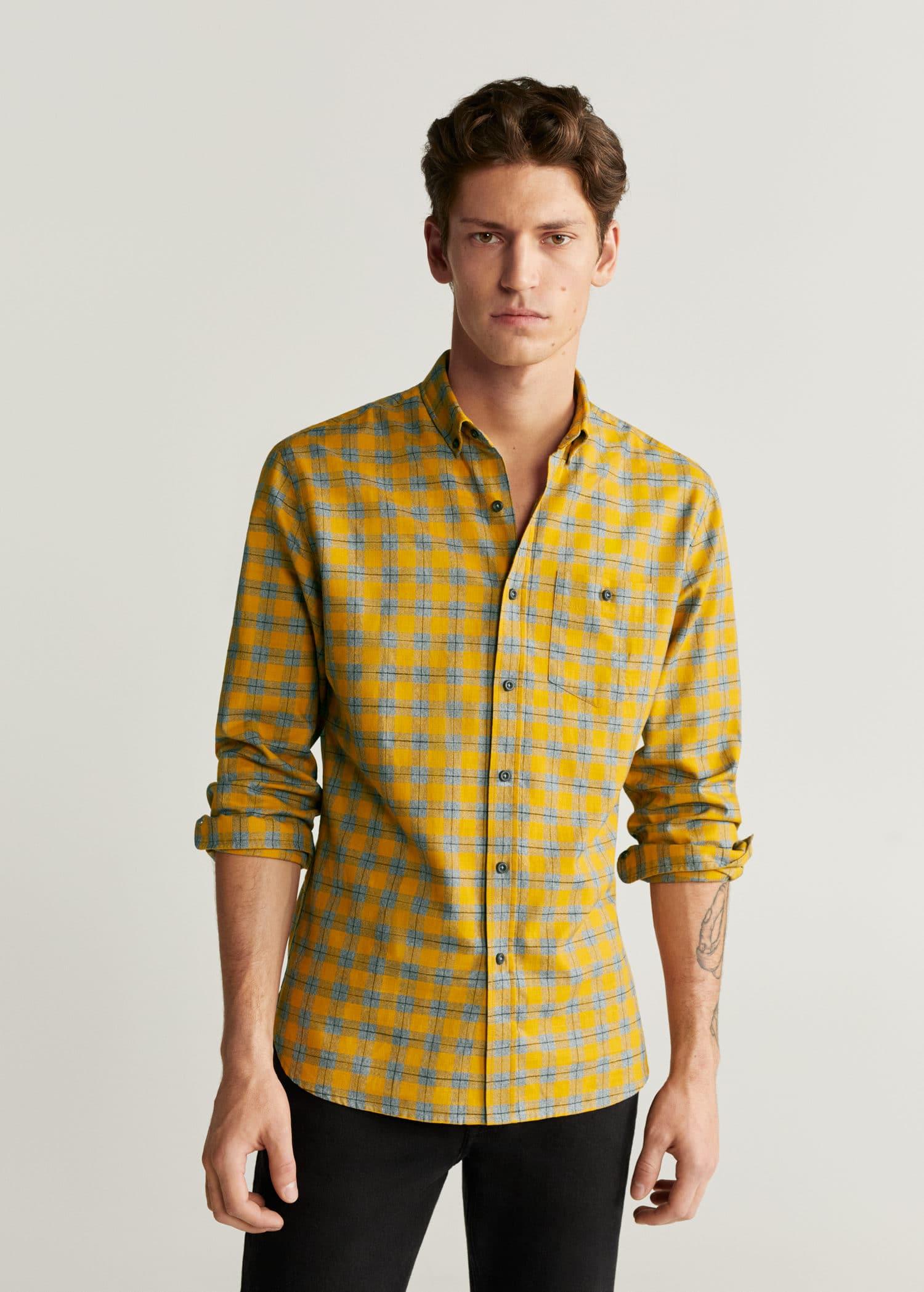 Koszula slim ze stójką Żółty