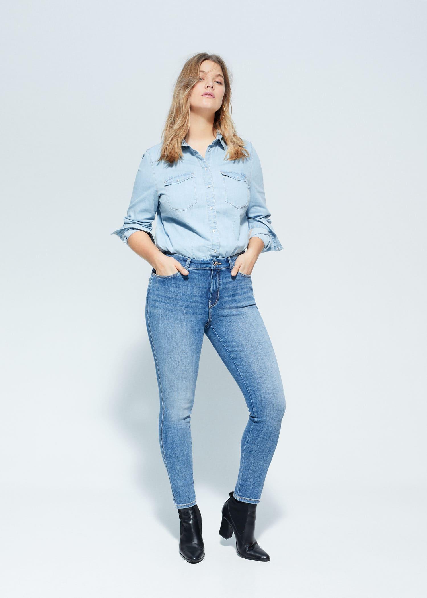 Jeans Bi Stretch Push Up Irene Vaqueros Tallas Grandes Violeta By Mango Usa