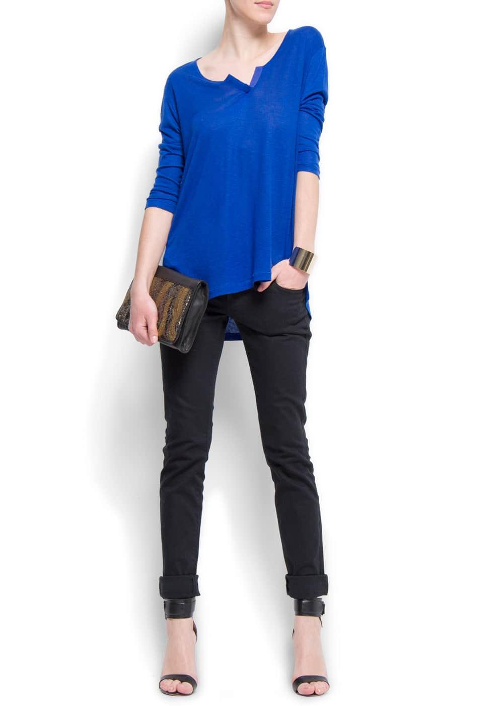 Oversize three quarter sleeves t-shirt | MANGO