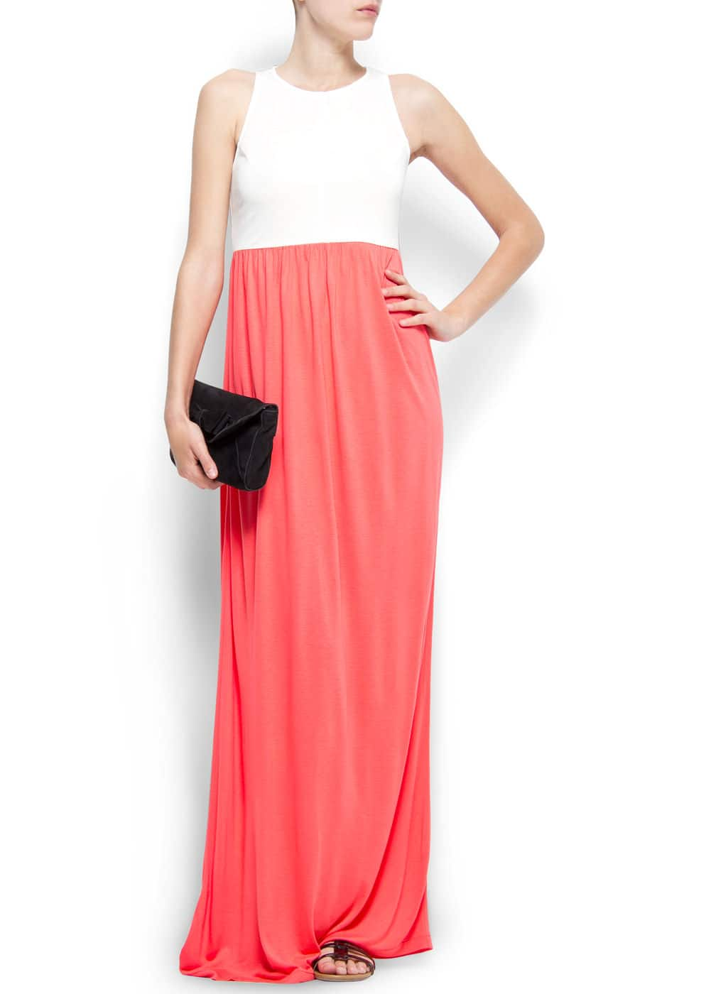 Two-tone long dress | MANGO