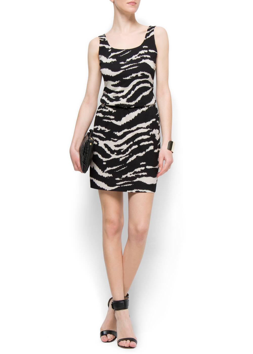 Straight cut zebra dress   MANGO
