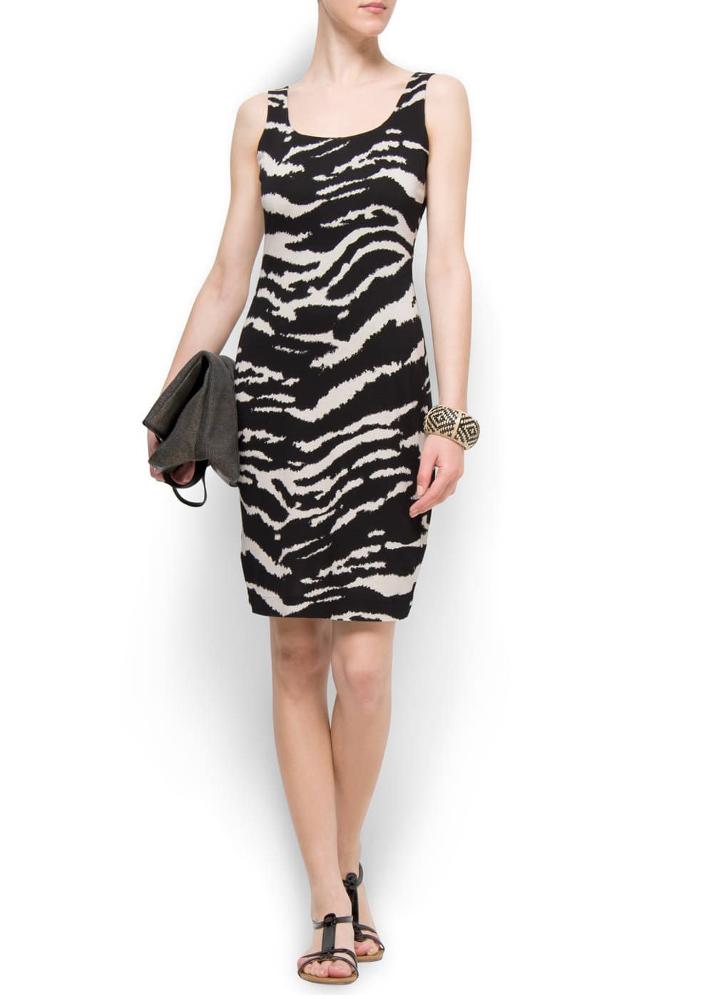 Straight cut zebra dress | MANGO