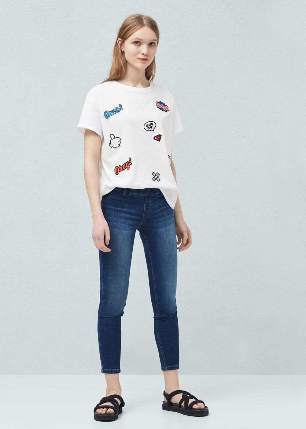 Mango Tendencies Short Shirts Basic Long Collar Less White Putih M