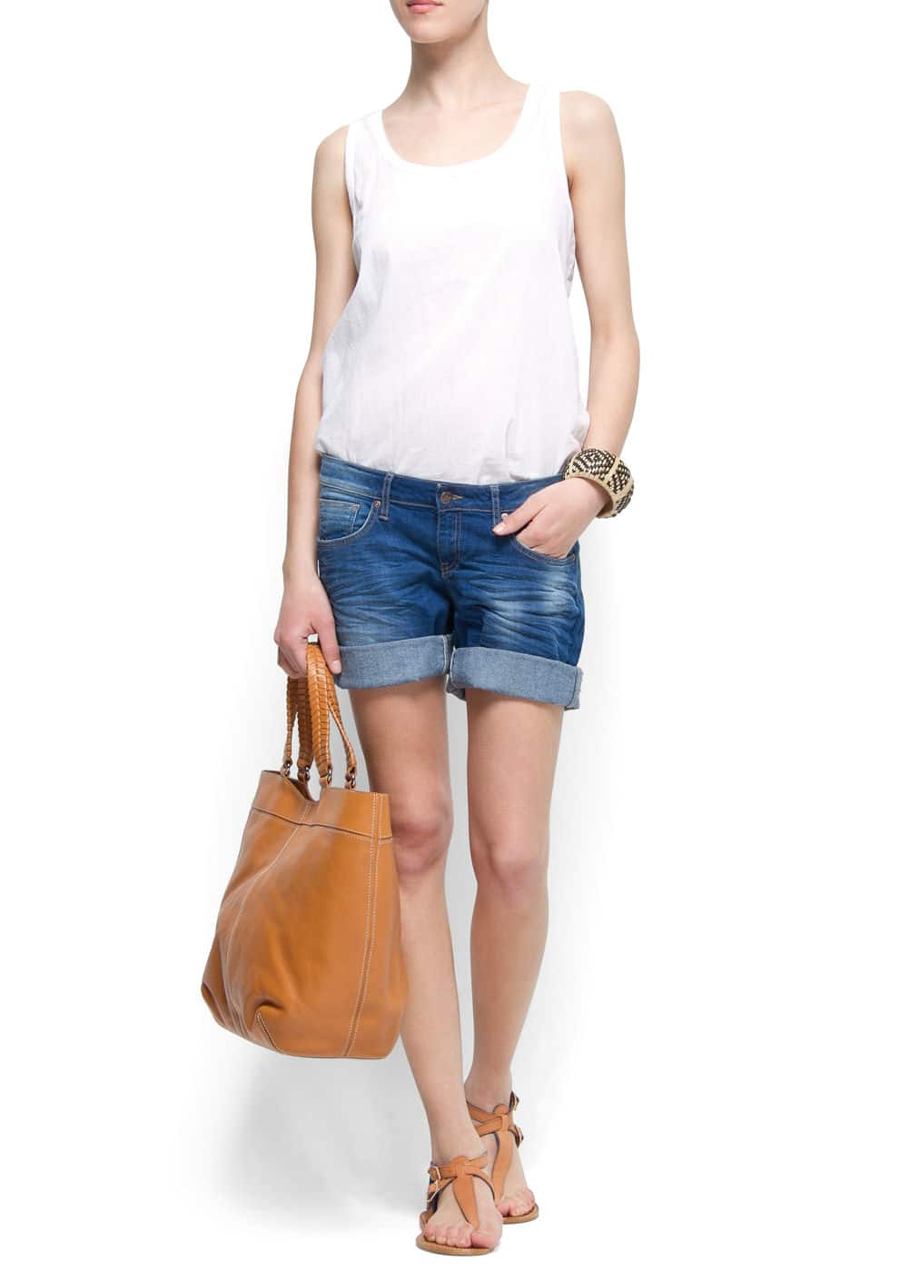 Sleeveless cotton t-shirt | MANGO