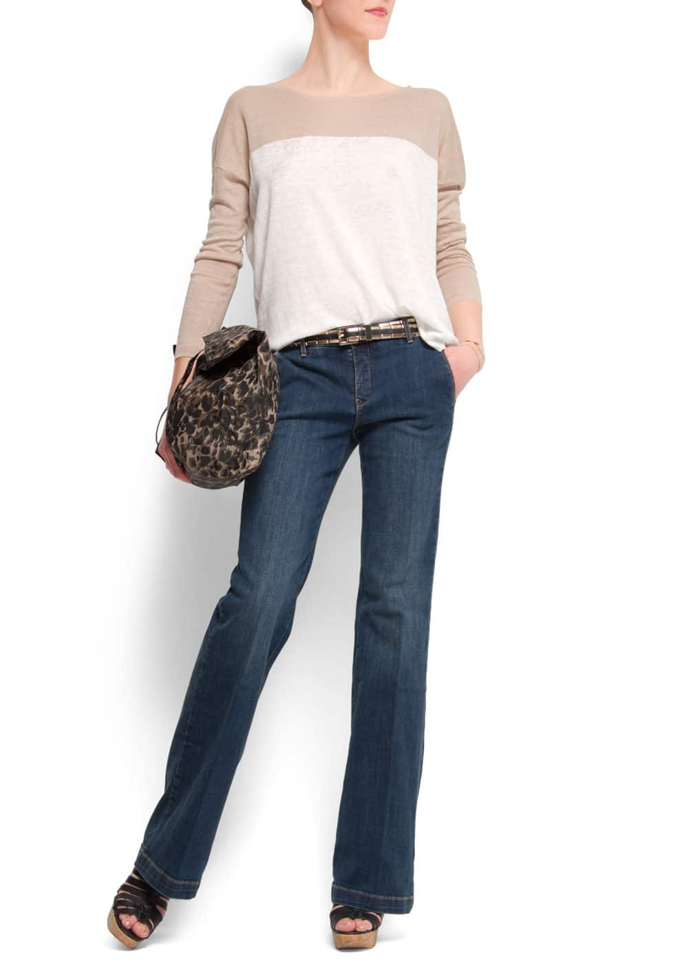 Relaxed-fit bicolour jumper   MANGO