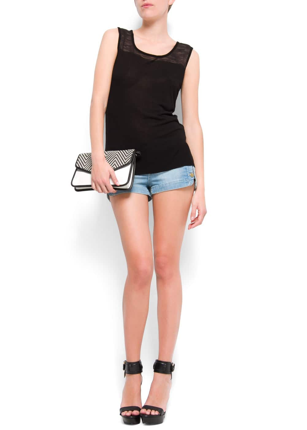 Asymmetric sheer t-shirt | MANGO