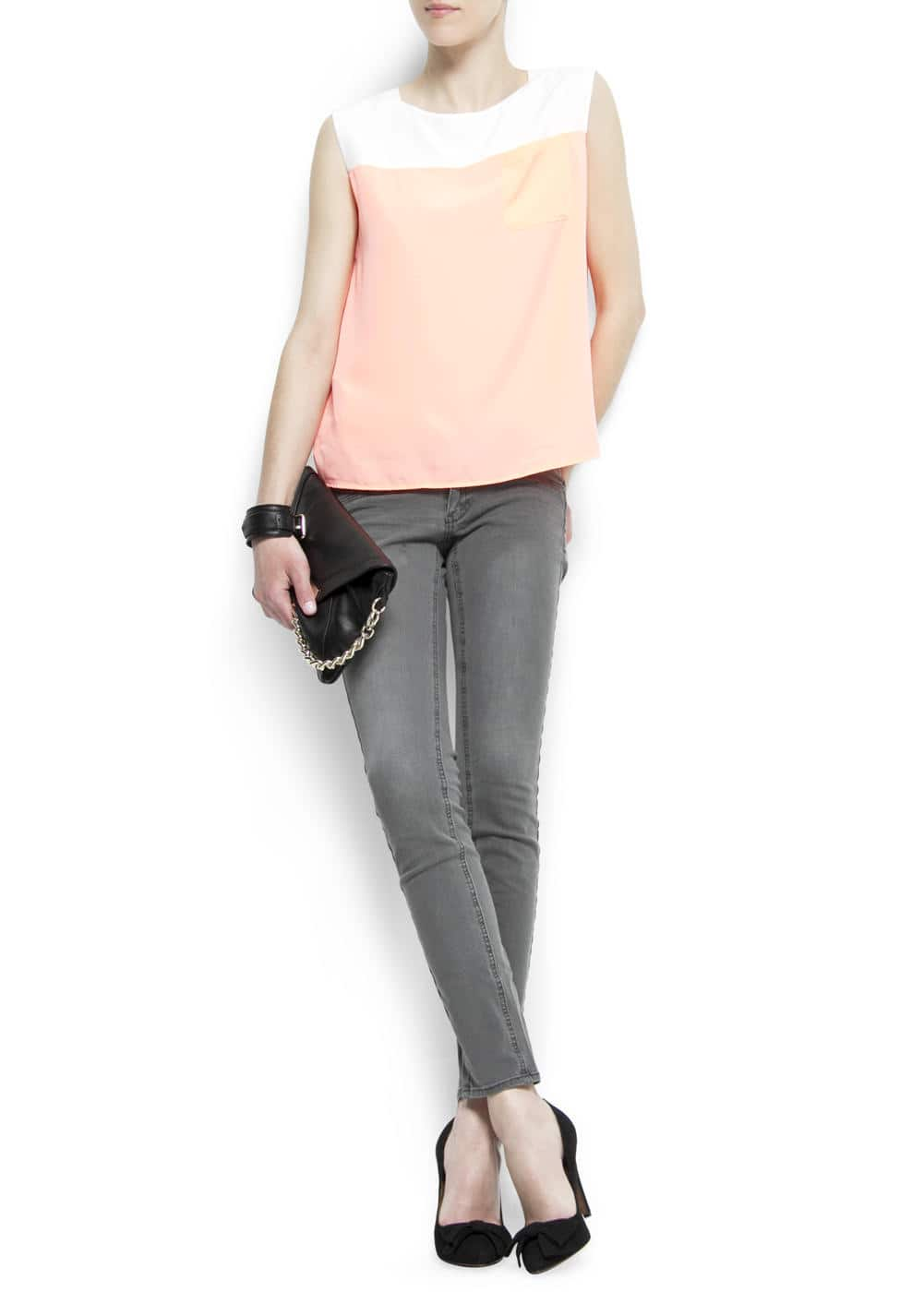 Two-tone asymmetric blouse | MANGO