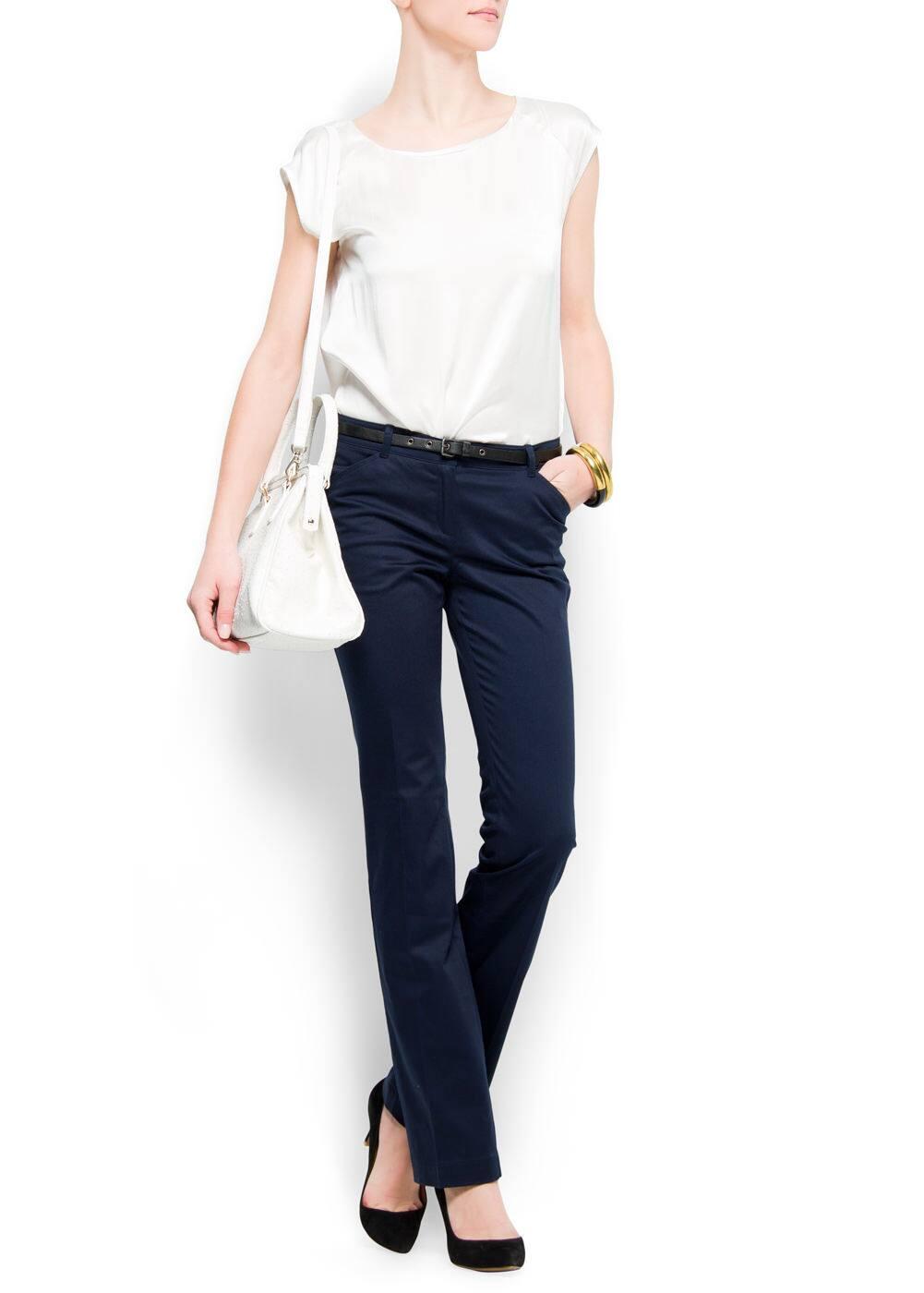 Slim-leg cropped trousers | MANGO