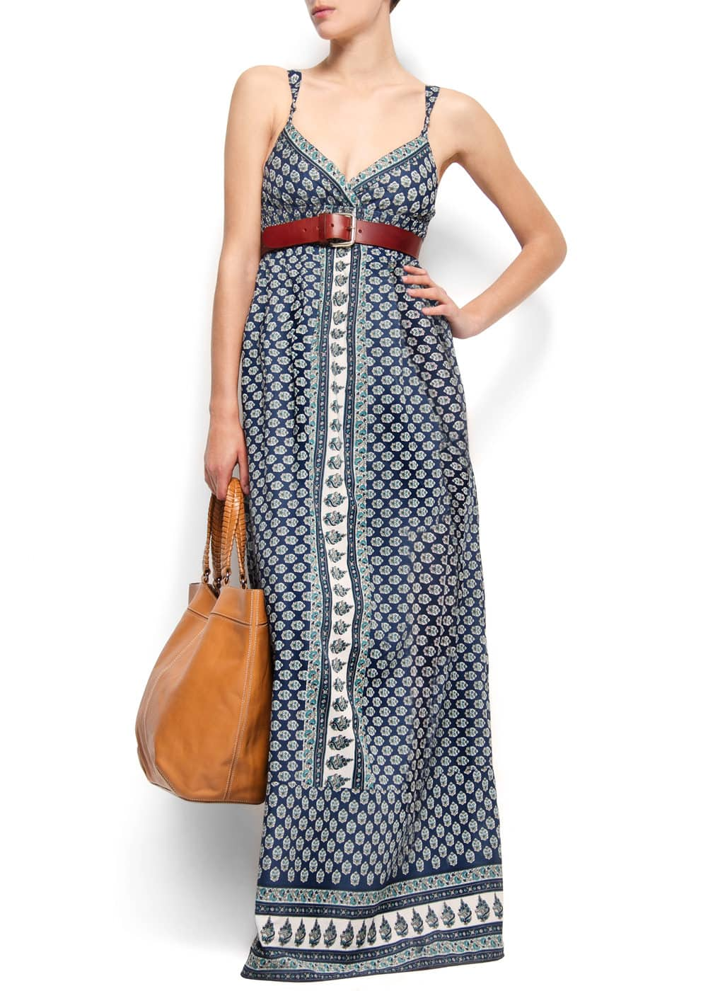 Cotton printed long dress | MANGO