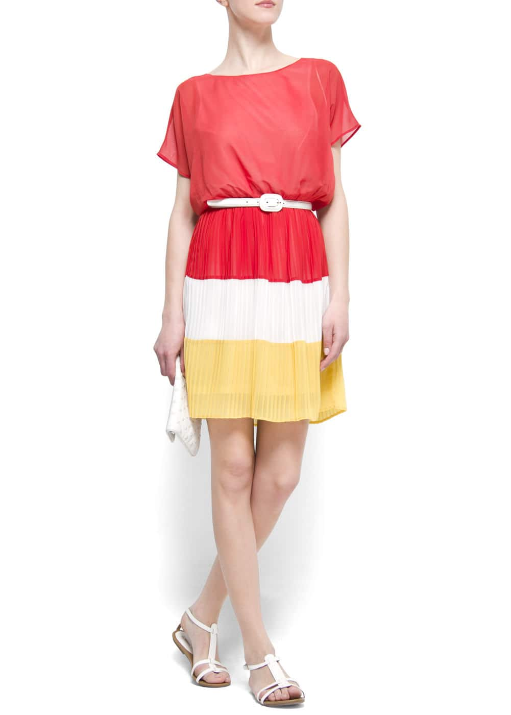 Pleated color block dress | MANGO