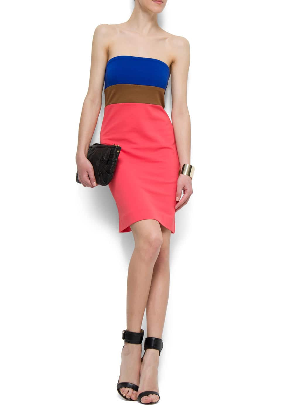Strapless color-block dress | MANGO