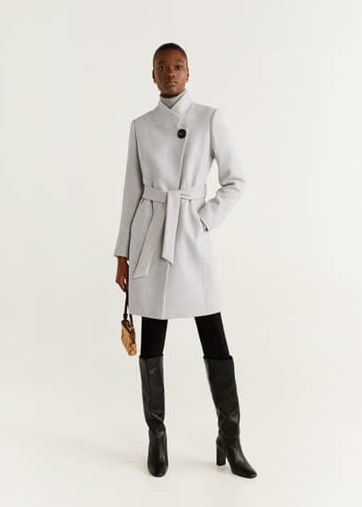 Полушерстяное пальто с поясом - Tierra6 от Mango