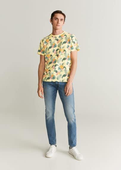 mango man - Baumwoll-t-shirt mit hawaii-muster