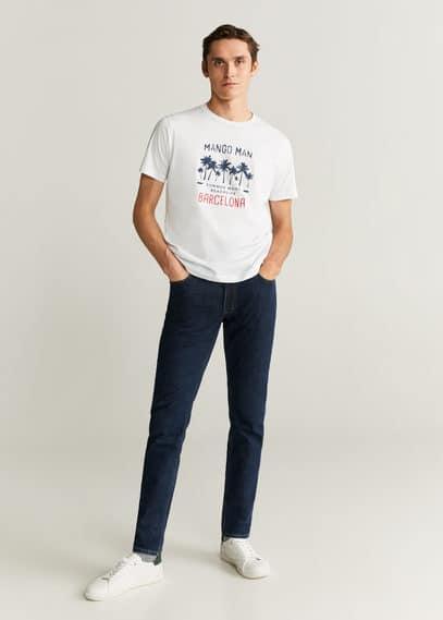 mango man - Baumwoll-t-shirt mit logo-print