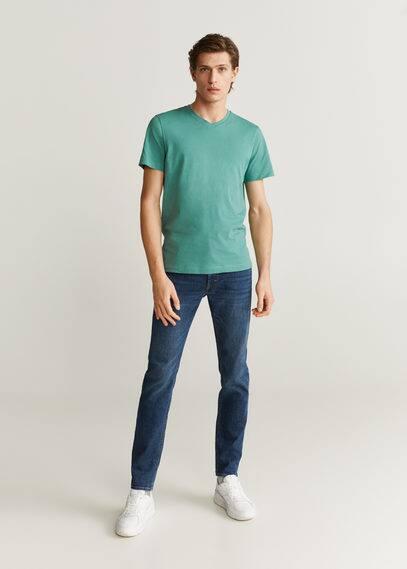 mango man - Baumwoll-t-shirt, v-ausschnitt