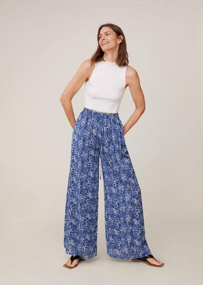 Плиссированные брюки с цветочным принтом - Sky