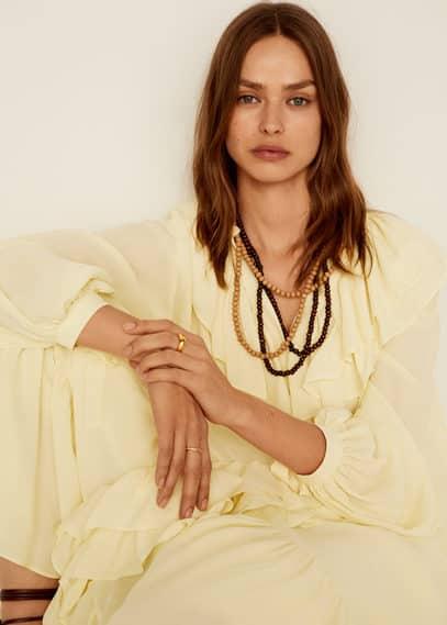 mango - Halskette mit holzperlen
