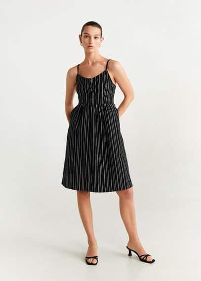 Хлопковое платье в полоску - Estrelap-h от Mango