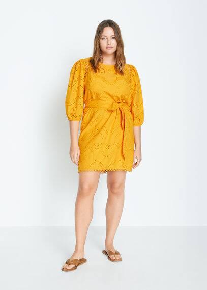 Платье с вышивкой и перфорацией - Tirol