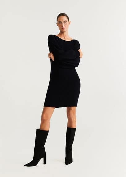 Kleid aus geripptem strickjersey