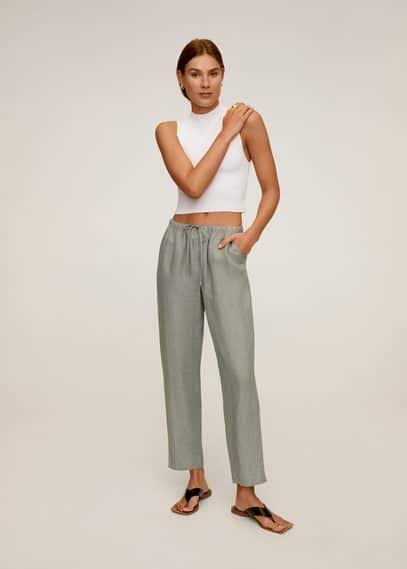 Прямые брюки с хлопком и льном - Linen