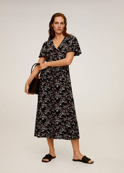 Langes, bedrucktes kleid