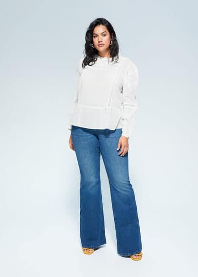 Блузка с перфорацией - Frenchi Mango. Цвет: грязно-белый