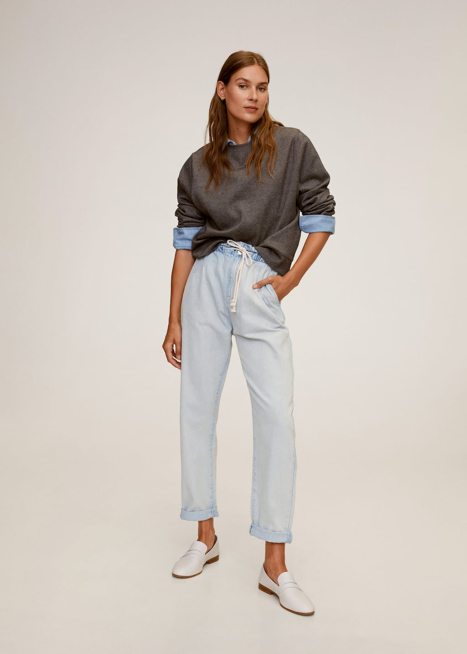 Baggy straight jeans with drawstring waist - Medium plane