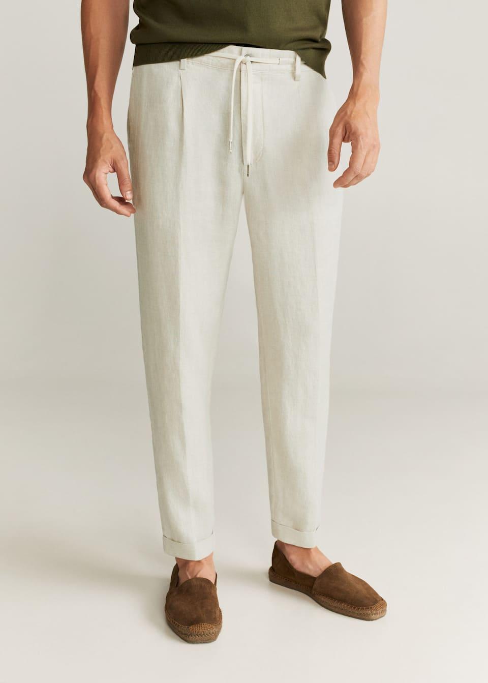 Pantalon 100 Lino Hombre Mango Man Espana