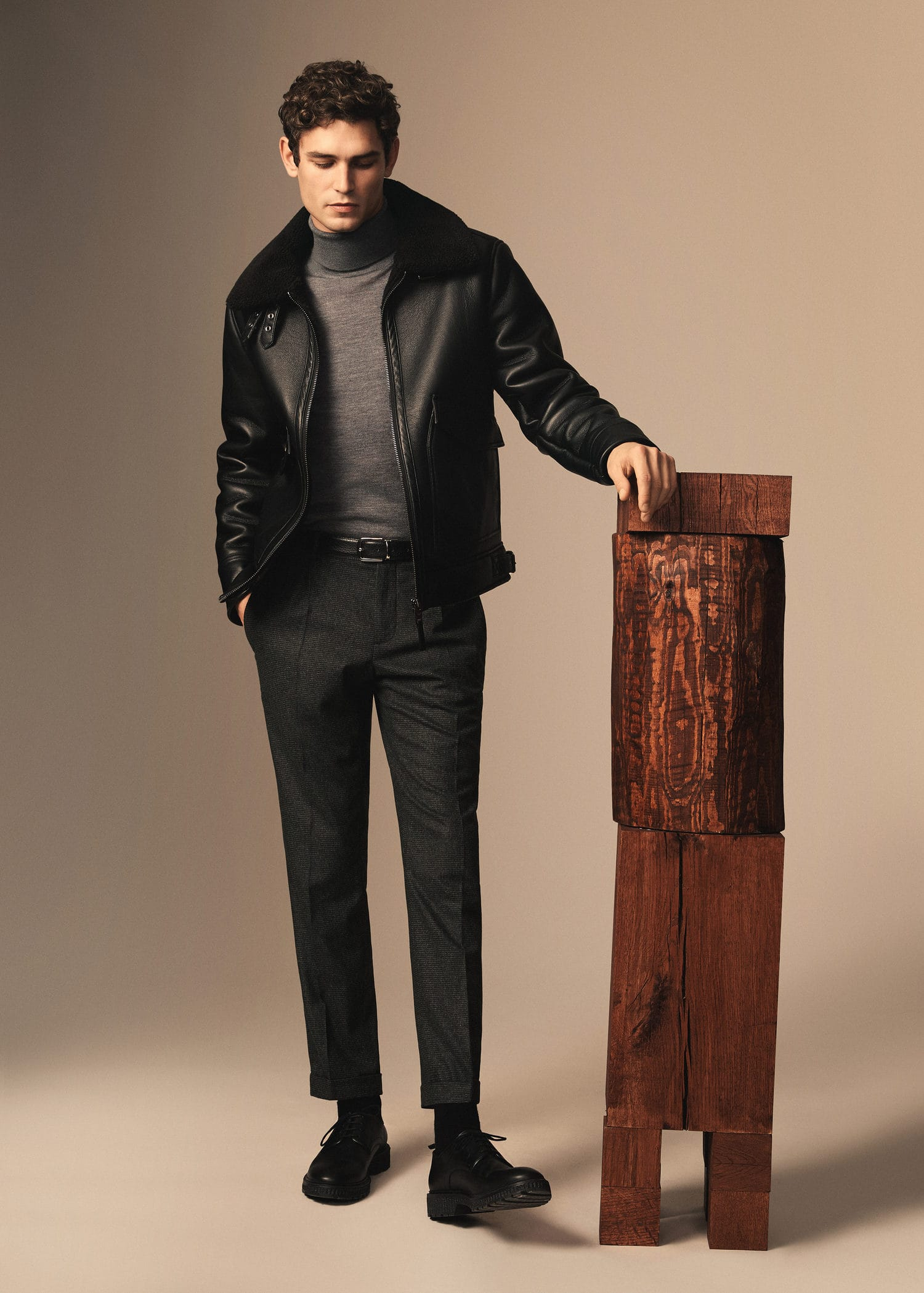 eveningwear mango aviator jacket with a roll neck and tailored trousers