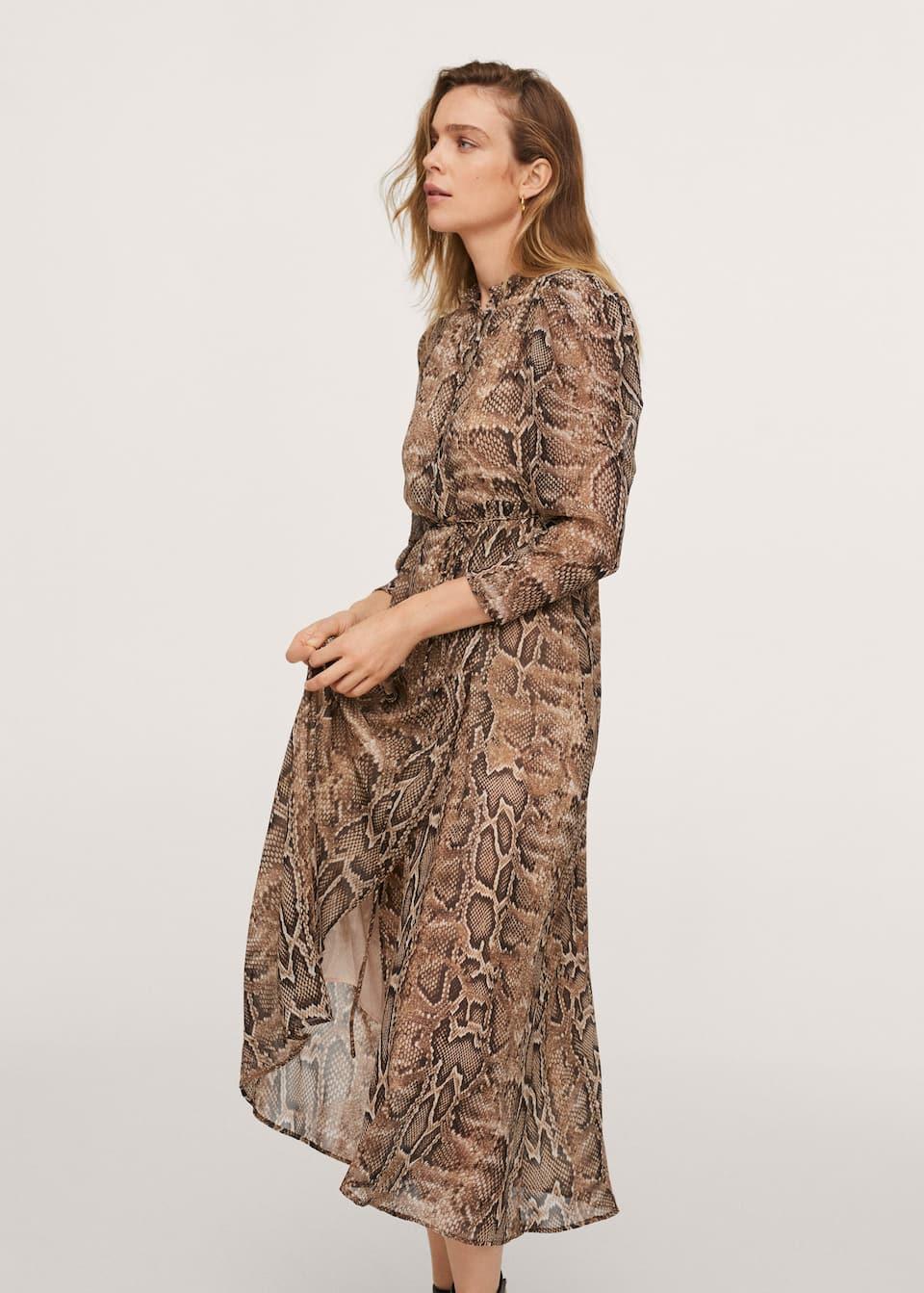 Langes kleid mit schlangenmuster   Damen   Mango Deutschland
