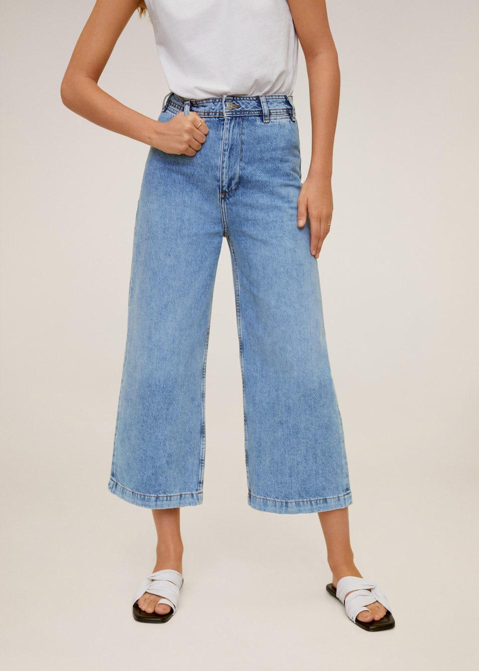 High-waist culotte jeans - Woman   Mango Indonesia