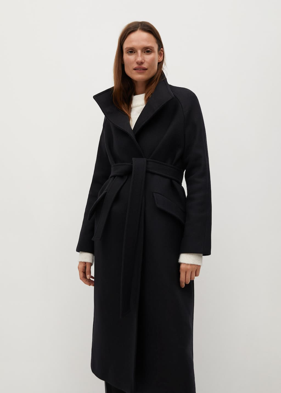 Belt wool coat - Medium plane