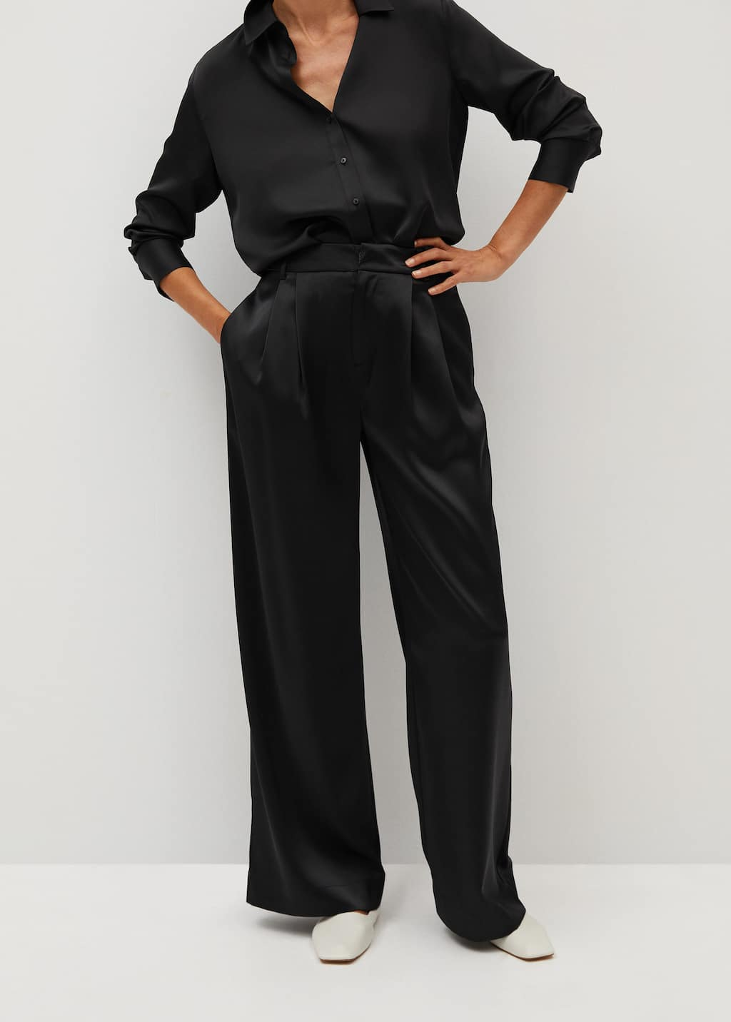Satin palazzo trousers - Medium plane