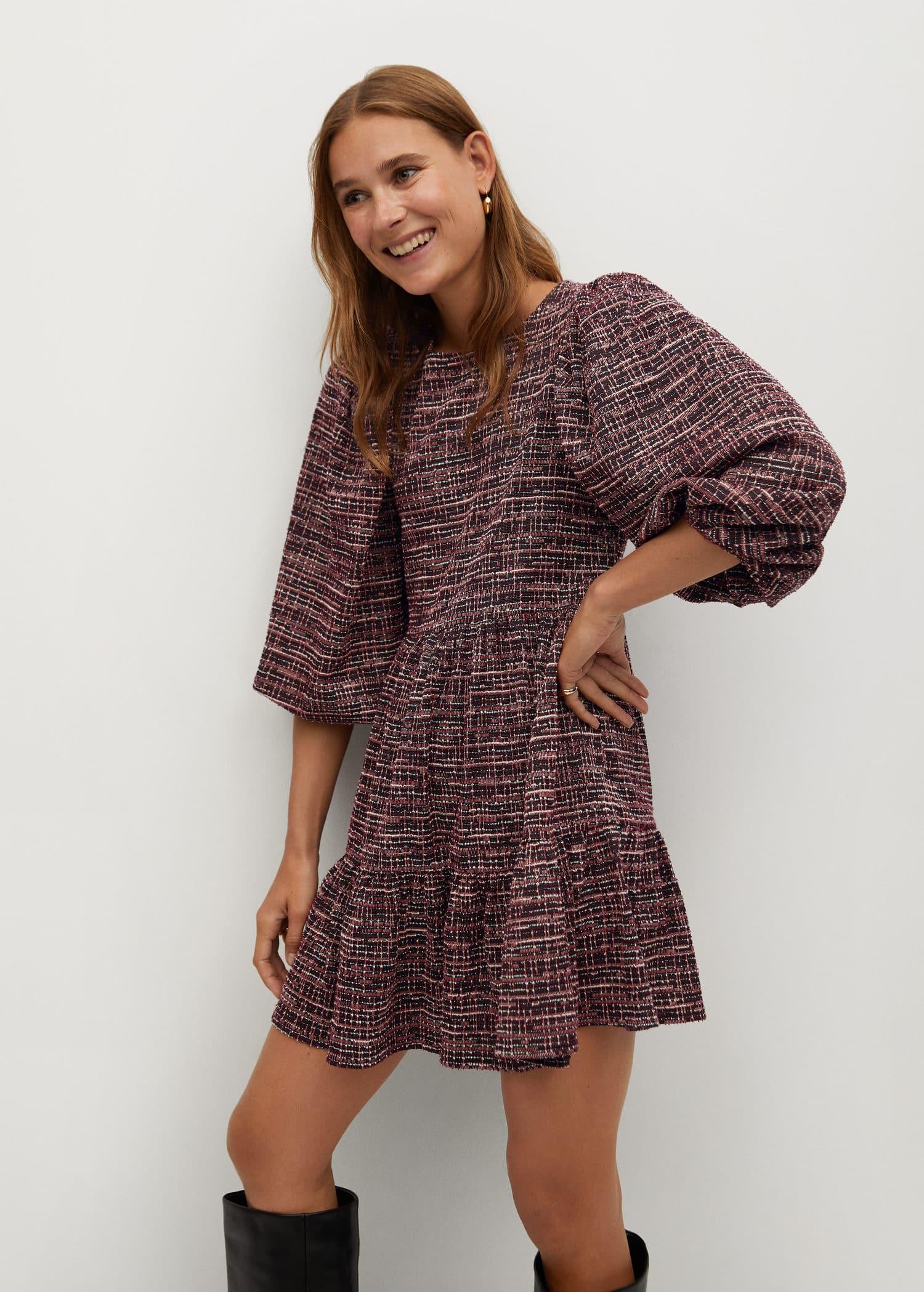 Klänning med puffärm RödVitblommig DAM | H&M SE
