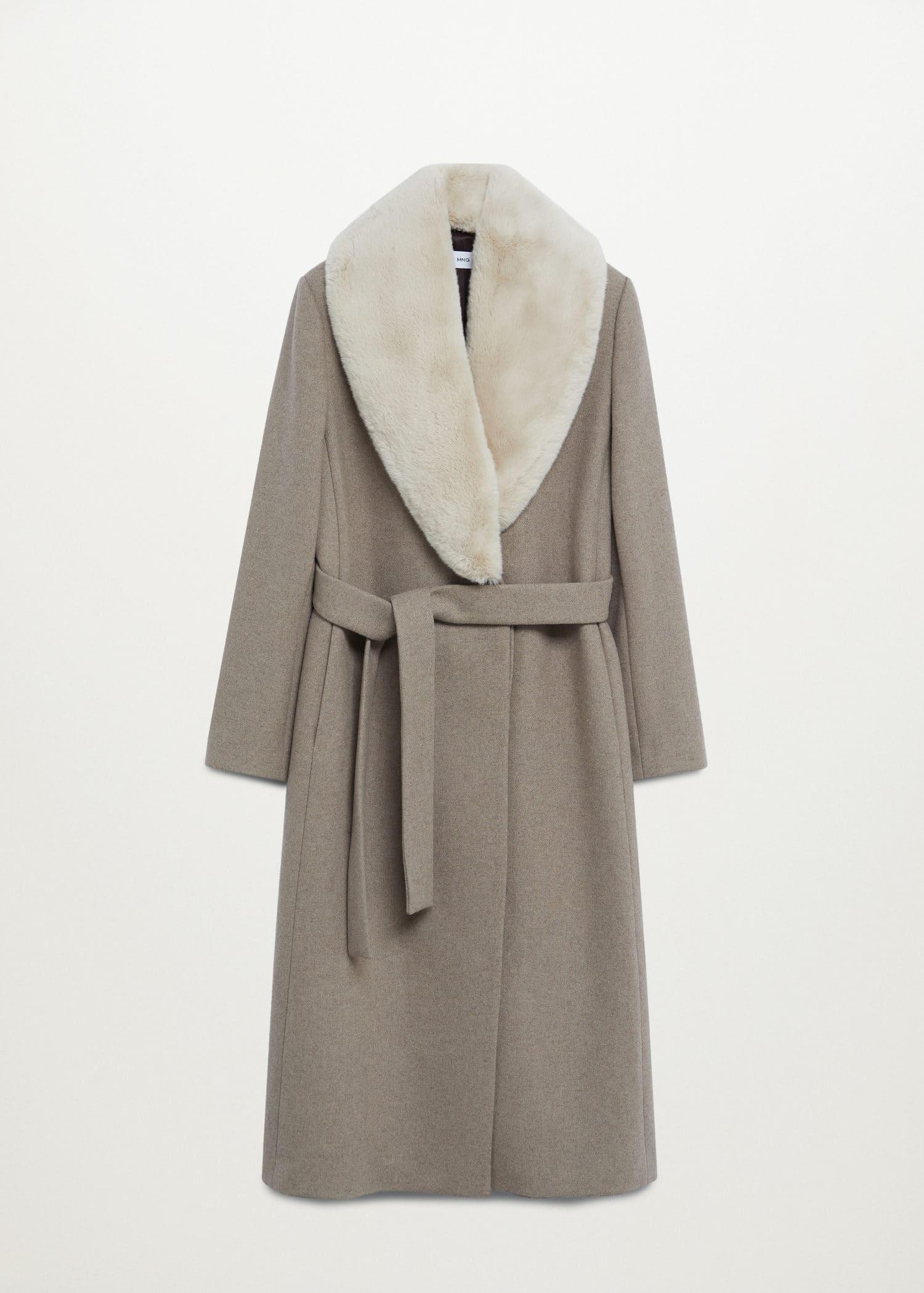 Wollen jas met kettingdetail Dames | Mango Nederland