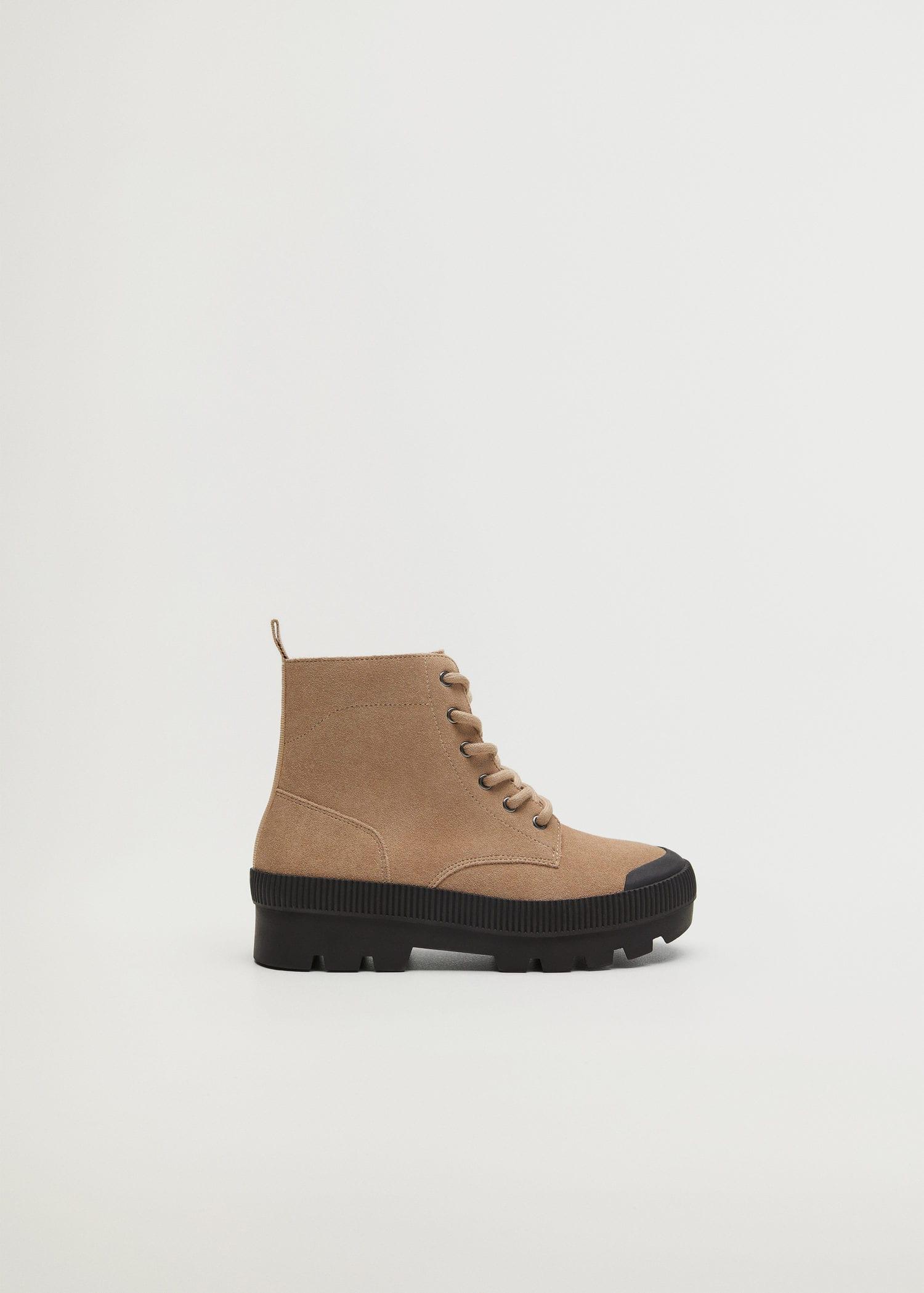 Lace-up leather boots - Girls | Mango