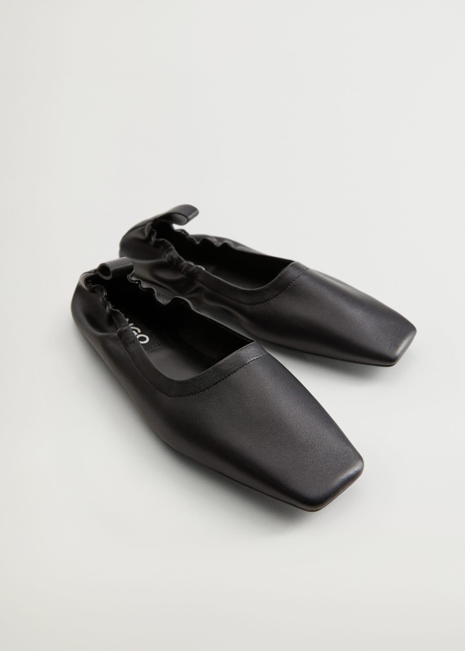 Gathered leather ballerina - Medium plane