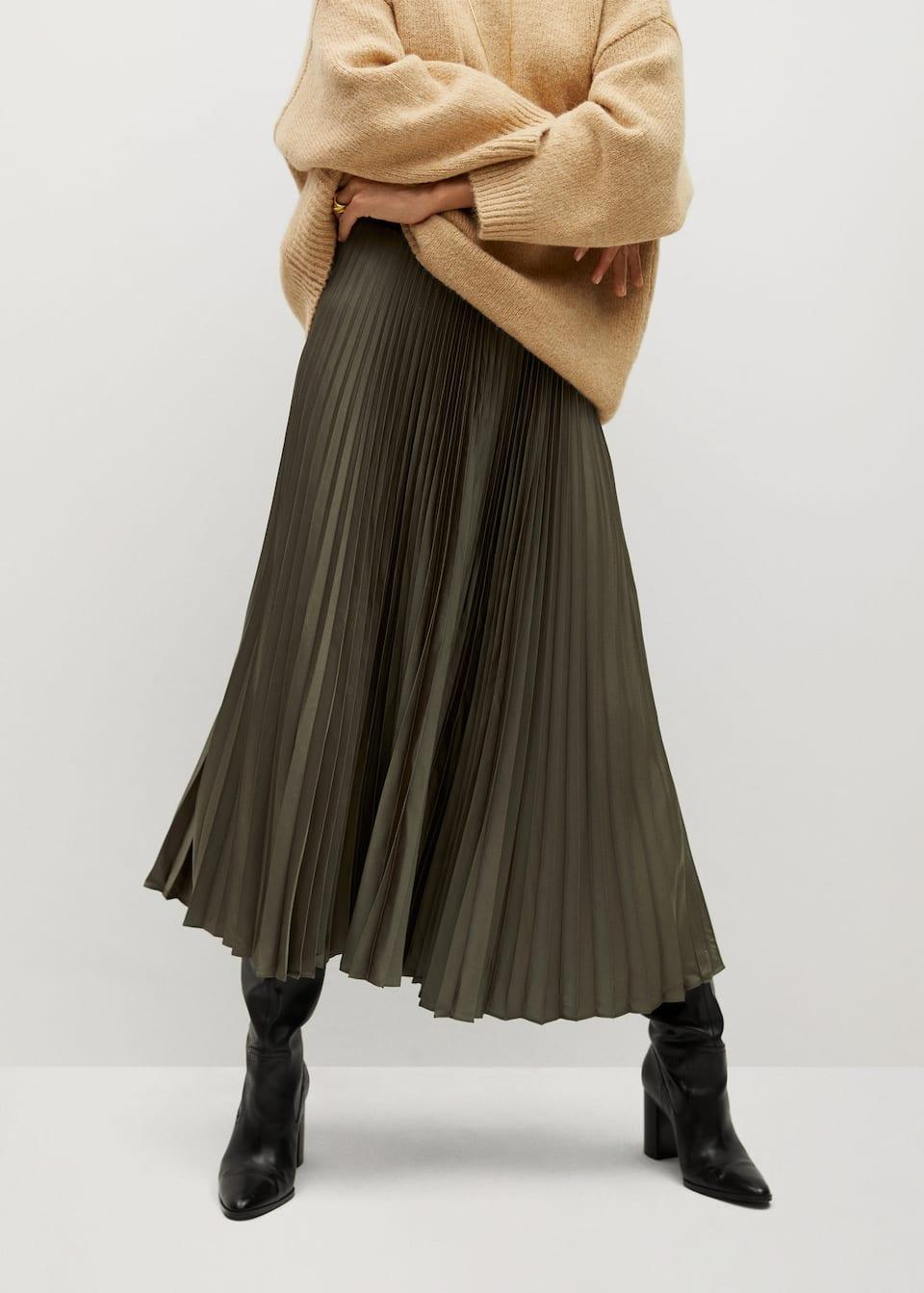 Satin pleated skirt - Medium plane