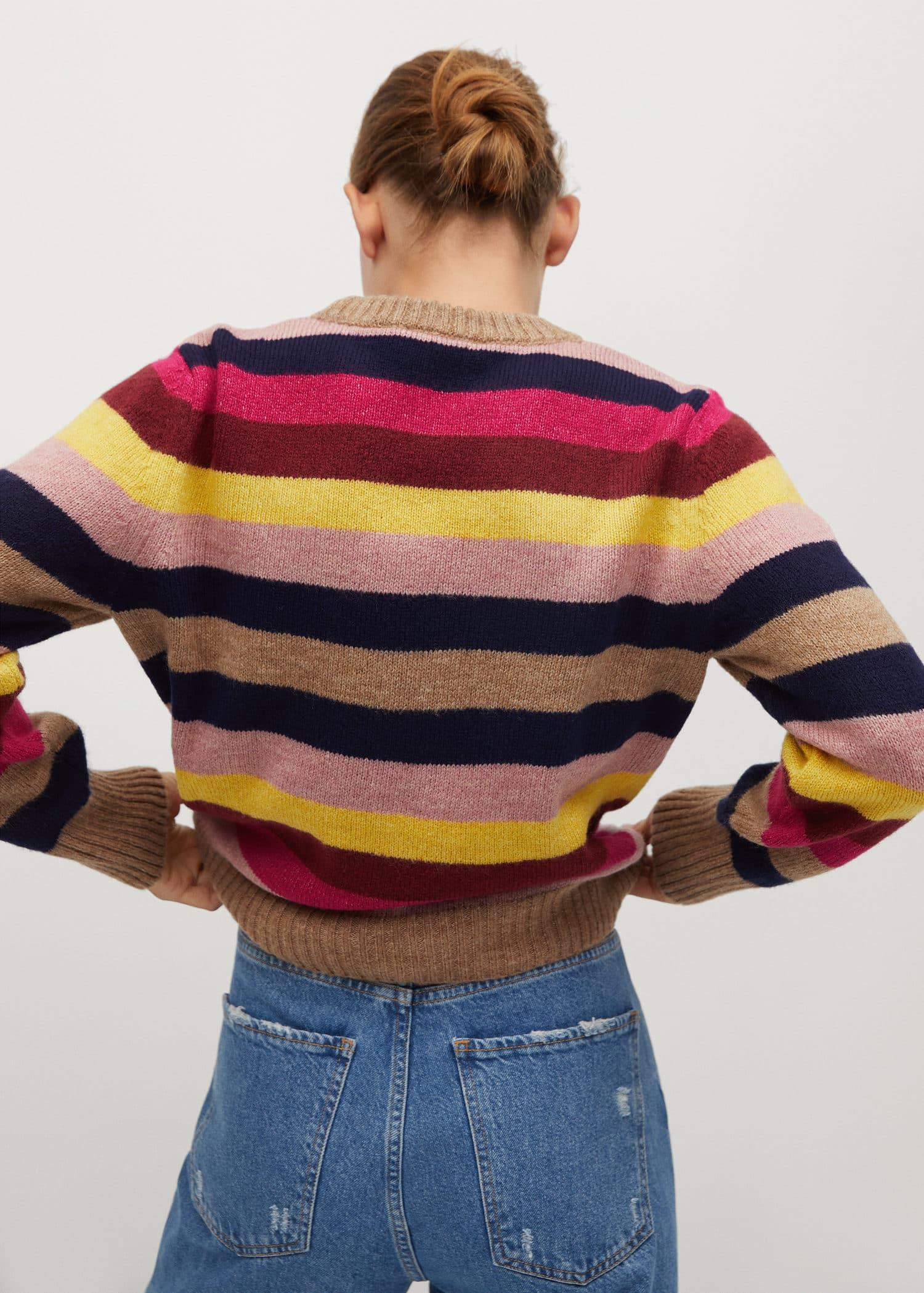 Meerkleurige gebreide trui Dames | Mango Nederland